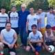 """Die Fußballer von Kabul United gemeinsam mit Friedhelm Großmann von Save me Konstanz e.V. bei """"Kicken gegen Rassismus"""" am 30. Juni 2018"""